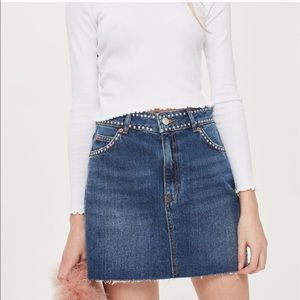 TopShop Moto Studded Denim Mini Skirt - Size 6